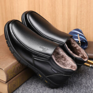 Men's Shoes Leather Fleece Lined Soft Oxfords Ankle Snow Boots Winter Casual