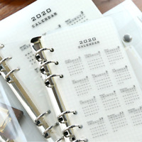 2020 Calendar 6 Holes A5 A6 PP Index Divider Diary Binder Planner Notebooks best