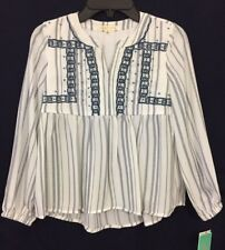 NWT Size 14 (Large) Copper Key Girl's Long Sleeve Embroidered Peasant Top