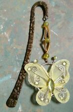 Yellow butterfly insect bookmark 120mm bronze tone bookark (T4)