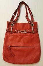 B MAKOWSKY Red Pebbled Glove Leather Handbag Silver Hardware Animal Print Lining