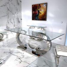 Christy CC Esstische Edelstahl Esszimmer Tisch Glas Hochglanz 200x100x75 cm