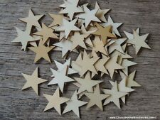50 qty Small 3/4 inch Star Wood Embellishments Crafts Flag Wooden Decor DIY .75