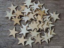 50 qty Small 3/4 inch Star Wood Embellishments Crafts Flag Wooden Decor DIY .75