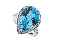 Blue Topaz Pear Shape& Diamond Ring 14KWG w/ 0.75 Carats of Small Round Diamonds