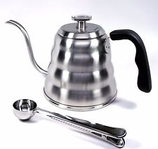 Pour Over Coffee Kettle with Thermometer 1.2L - Gooseneck Hand Grip Free Gift