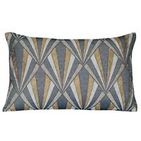"XL Rectangular Metallic Art Deco Geometric Cushion. Gold/Black. 23x15"""