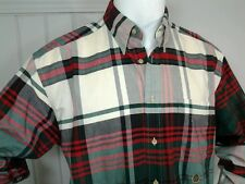Tommy Hilfiger Mens Shirt Button Front Red Green White Plaid Christmas Sz M