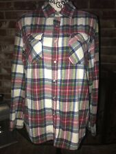 Heritage1981 Women's Button Up Shirt- Pearl Snaps Red Plaid Western Style Sz L