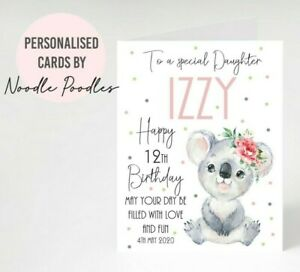 Personalised Girls Birthday Card Name Age & Date Daughter Granddaughter Niece