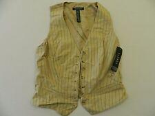 M7 NWT $179 RALPH LAUREN Linen Beige Suit Striped Vest Top Jacket WOMEN'S 2