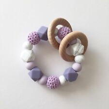 Baby Silicone Ring - Teething Rattle - Crochet Teether - Chew Toy - Purple