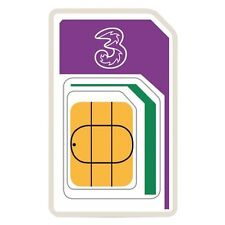 New 3 PAYG 3G Trio Triple cut Data SIM Card Pack Preloaded 3GB of Data