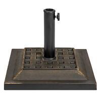 BCP 26lb Steel Square Patio Umbrella Base Stand, Basketweave Pattern - Black