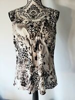 Ann Taylor Womens Brown & White Embellished Sleeveless Top Blouse Size Medium
