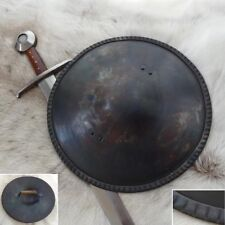 "Hand Forged Medieval 14 Gauge Steel 16"" Buckler Shield Ideal For Re-enactment"