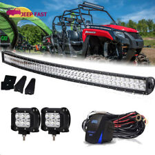 Atv Utv Off Road 50' Led Light Bar Curved Dc 12V w/ Wiring &Pods Kit Double Row (Fits: John Deere)