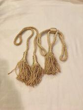 New listing Vintage Cream Drapery Rope w/Tassels& Drapery Curtain Tieback W/Large Tassels