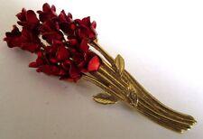 broche rétro ancien bijou vintage couleur or bouquet roses rouge métallisé 203
