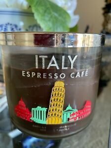 Bath and Body Works Candle Italy Espresso Cafe 3 WICK Rare!