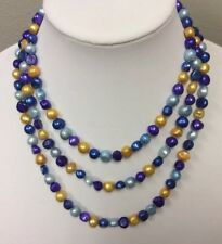"""Multicolored Cultured Freshwater Pearl Lariat Necklace 58"""""""