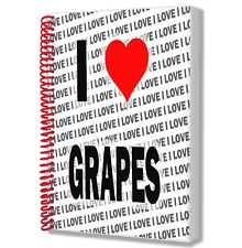 I Love Grapes - A5 Notebook Pad Diary Drawings Birthday Christmas Gift