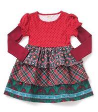 Matilda Jane Jolly Holiday Dress 4 Tiered Plaid Wreaths Christmas Girls Nwt