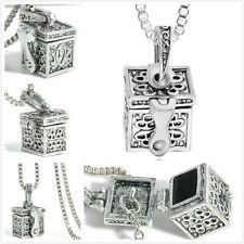 Metal Box Urn Cremation Pendant Necklace Ash Holder Keepsake Charm Chain Jewelry