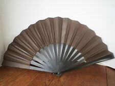 "Antq Mourning Fan Dark Brown Fabric (once Black) Wood Ribs 21"" Spread Rare"
