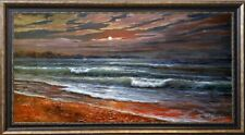 """EXTRA LARGE SEASCAPE """"MOONLIT NIGHT SURF"""" LISTED ARTIST OIL PAINTING ON CANVAS"""