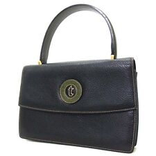 100% Authentic A. Testoni Dinamico Black Leather Handbag/Made in Italy(1358)