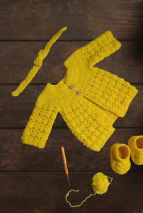 sweater baby knit cardigan beanie crochet Jacket girl kids toddler 0-3months
