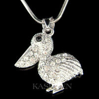 "~Pelican made with Swarovski Crystal Water Bird Pendant Charm 18"" Chain Necklace"
