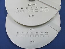 VELCRO ADHESIVO BLANCO 2 ROLLOS de 25 mts GANCHO + RIZO