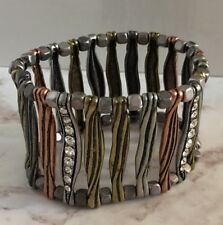 Mixed Metal Embossed Bracelet Crystals Stretch