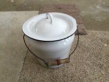 Vintage Large Porcelain EnamelWare Chamber Pot w/Lid And Wooden Handle