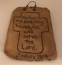 """As for Me and My House"" Inspirational WALL Ceramic TAN PLAQUE USA made_of_clay"