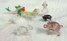 Vintage Miniaturas Animales De Cristal De Murano Pez, 2 cerdos, Cisne, tigre, conejo, Penguin
