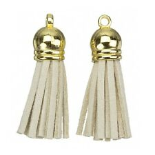 Suede Tassel Charms with Gold Cap for Jewellery & Crafts Beige 36mm (H14/6)