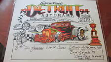 VINTAGE DETROIT AUTORAMA POSTER HAND SIGNED BY DAVID BELL 1994