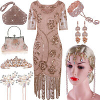 Women's Vintage Style Flapper Dress 1920s Gatsby Fringe Tiered Sequin Bead Party
