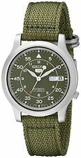 Seiko 5 Men's Automatic Watch with Green Dial & Green Fabric Strap