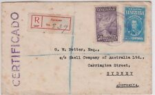 Stamps VENEZUELA on cover sent registered certified from Caracas to Australia