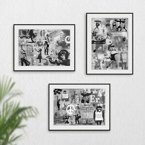 Black & White Grey Banksy Montage Collage Gallery Wall Print Set Poster Picture