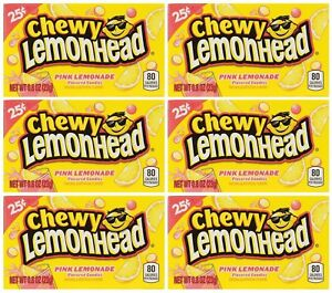 6x Chewy Lemonhead Pink Lemonade Flavored Candies American Sweets - New