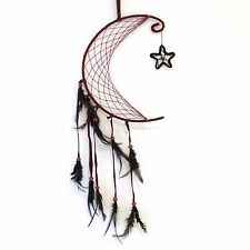 NEW PURPLE MOON AND STAR FEATHER DREAM CATCHER NATIVE AMERICAN HANGING MOBILE