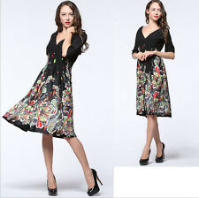 New Women lady half Sleeve V Plus Size Evening party Summer Formal dress