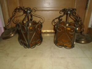 2 Vintage Gothic Wrougt Iron Textured Amber Glass Swag Hanging Light Sconce