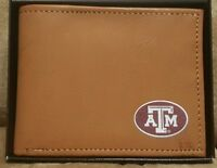 Texas A&M  College Official Licensed Bifold Genuine leather brown wallet