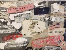 peinture Papier Collage Jacqueline Pavlowski signé 1966 Abstraction Cubiste